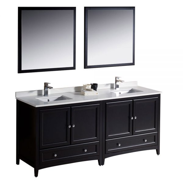 Fresca FVN20-3636ES Oxford 72 Inch Traditional Double Sink Bathroom Vanity in Espresso Sink White Quartz 5