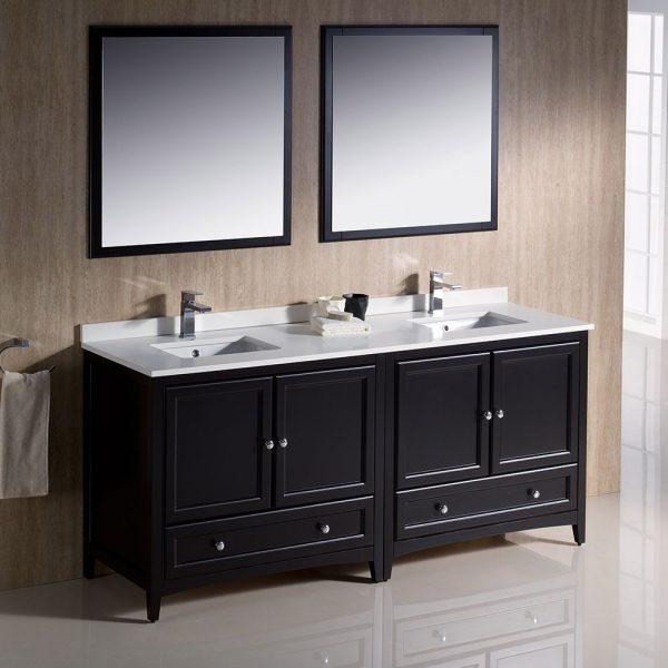 Fresca FVN20-3636ES Oxford 72 Inch Traditional Double Sink Bathroom Vanity in Espresso Sink White Quartz