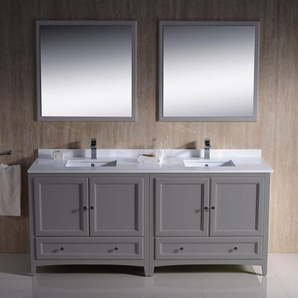 Fresca FVN20-3636GR Oxford 72 Inch Gray Traditional Double Sink Bathroom Vanity With White Quartz Top 1
