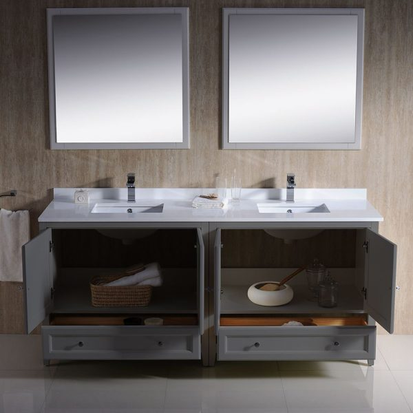 Fresca FVN20-3636GR Oxford 72 Inch Gray Traditional Double Sink Bathroom Vanity With White Quartz Top 2