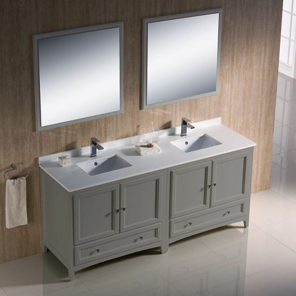 Fresca FVN20-3636GR Oxford 72 Inch Gray Traditional Double Sink Bathroom Vanity With White Quartz Top 3