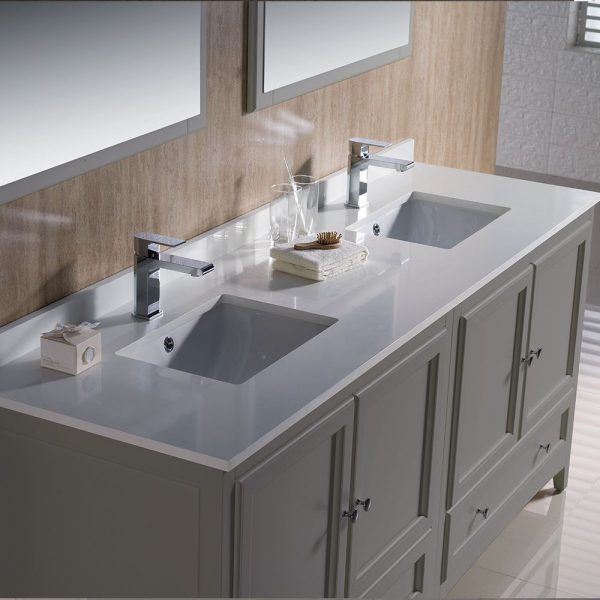 Fresca FVN20-3636GR Oxford 72 Inch Gray Traditional Double Sink Bathroom Vanity With White Quartz Top 4
