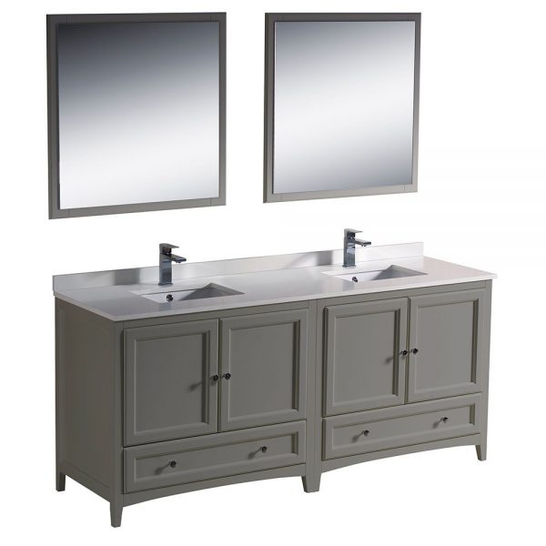 Fresca FVN20-3636GR Oxford 72 Inch Gray Traditional Double Sink Bathroom Vanity With White Quartz Top 6