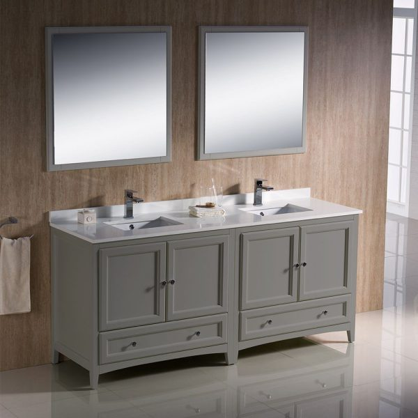 Fresca FVN20-3636GR Oxford 72 Inch Gray Traditional Double Sink Bathroom Vanity With White Quartz Top