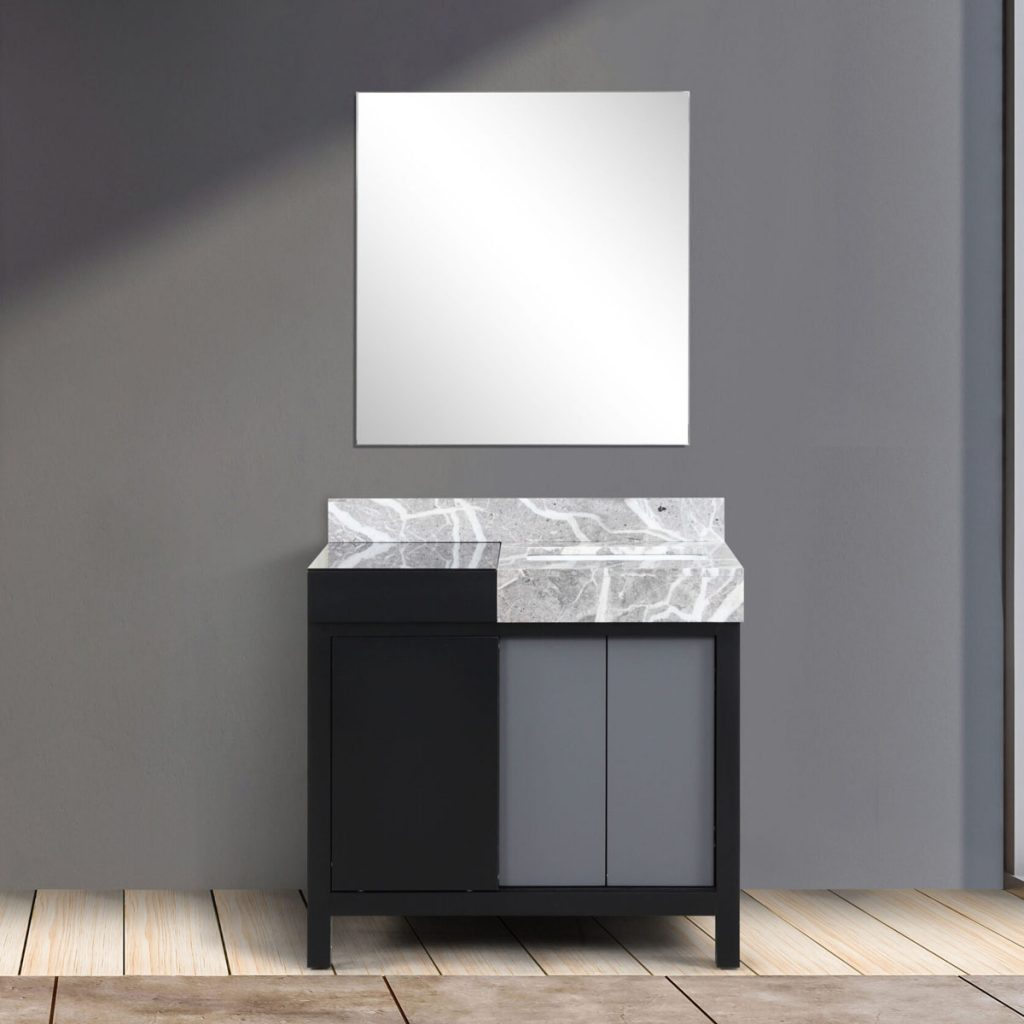 Zilara 36 Inches Black and Grey Vanity, Castle Grey Marble Top, White Square Sink, and 30 Frame less Mirror 13