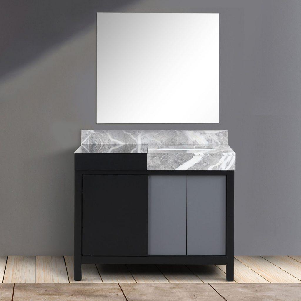 Lexora Zilara 42 Inch Color Black and Grey Bathroom Vanity With 34 Inch Mirror 15