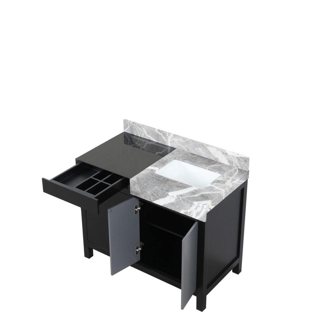 Lexora Zilara 42 Inch Color Black and Grey Bathroom Vanity With Mirror 5