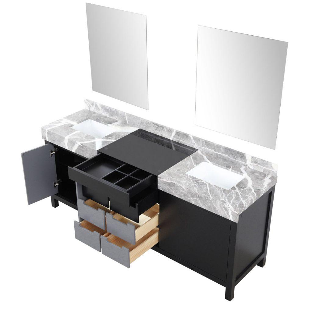 Lexora Zilara 80 Inch Double Bathroom Vanity Color Black Grey Castle Grey Marble Tops Ceramic Sinks With Mirrors 11